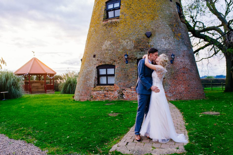 Newlyweds outside Fishlake Mill wedding venue in Doncaster