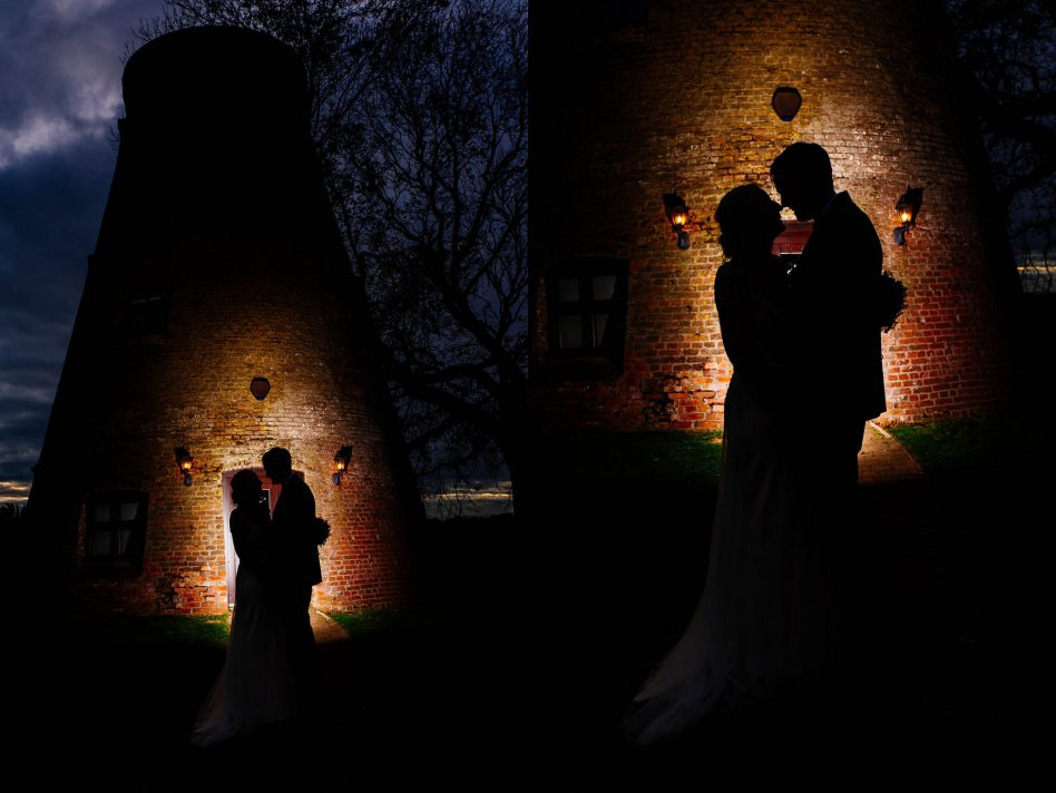 Nighttime wedding photos at Fishlake mill