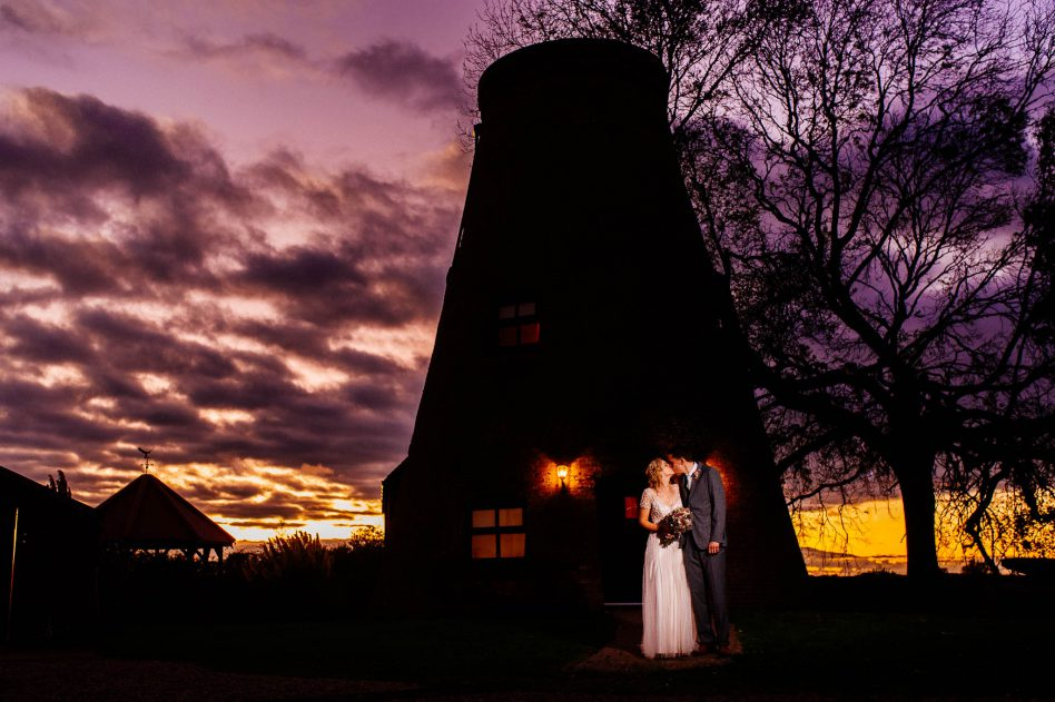 Spectacular sunset at Fishlake Mill wedding venue