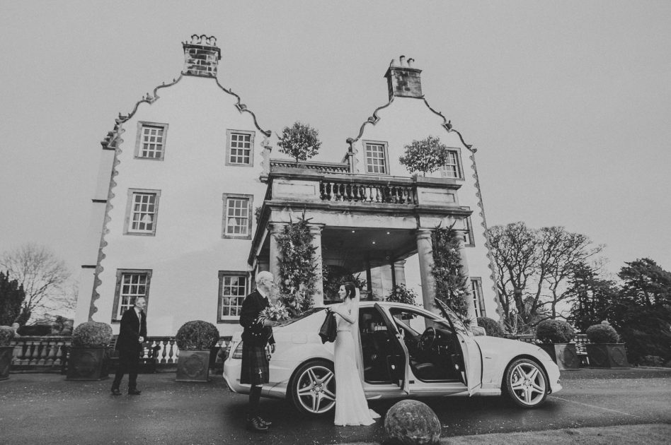 Bride arriving at prestonfield house wedding venue