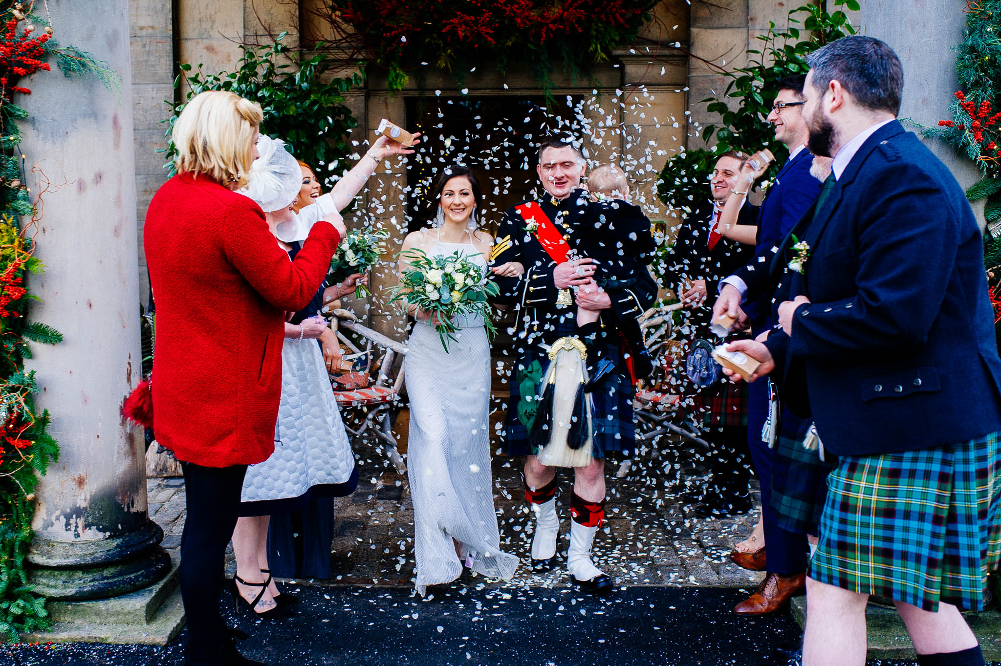 Wedding confetti at Prestonfield House
