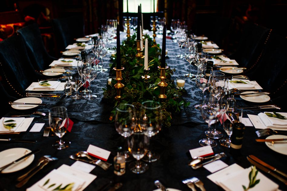 Alnwick Garden wedding Christmas table decorations