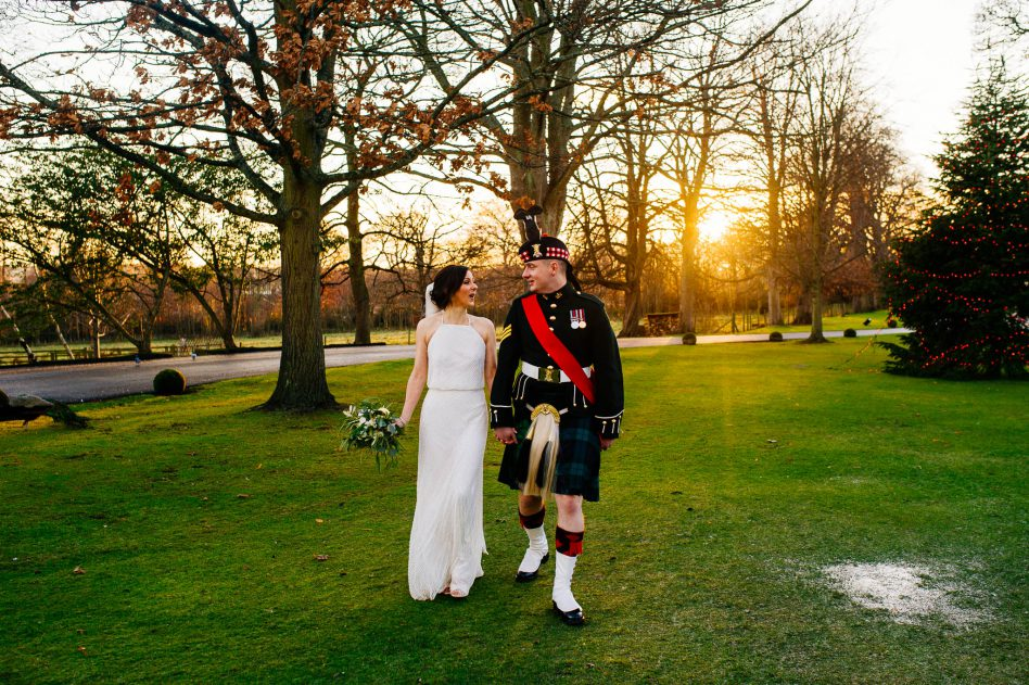 Prestonfield House wedding photos outside