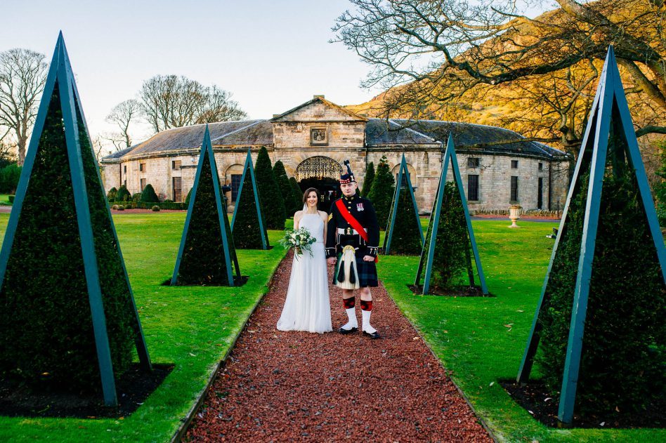 Prestonfield House wedding - bride and groom portrait