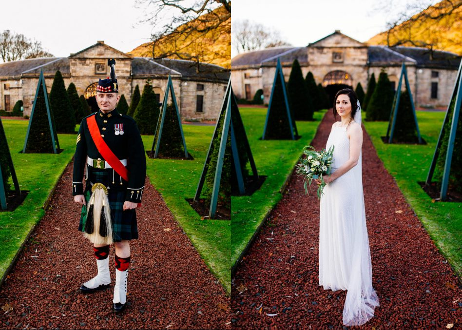 Bride and Groom portraits outside Prestonfield House