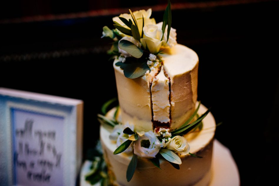 Cut wedding cake