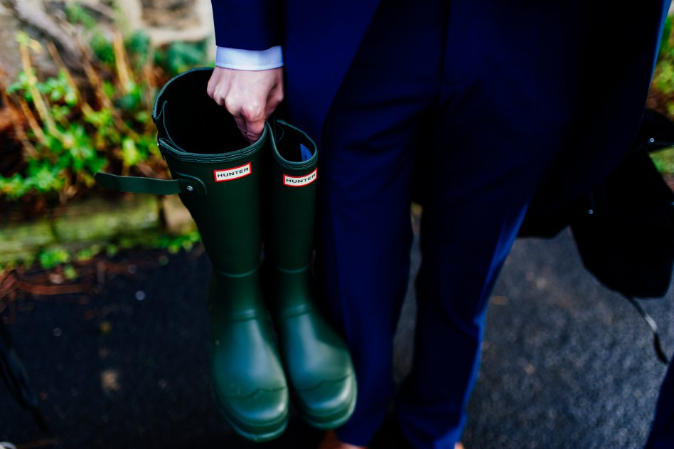 Wellies on a wet rainy wedding day