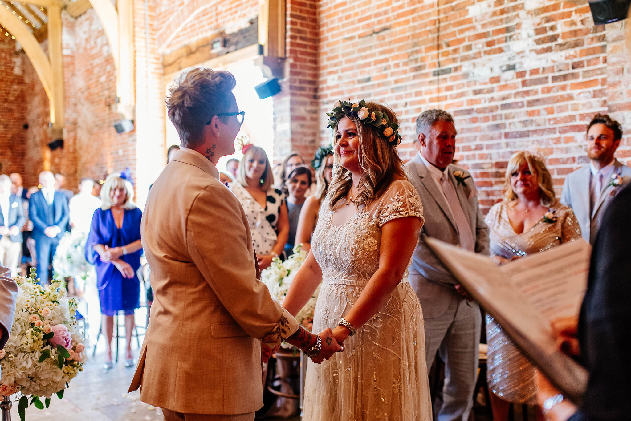 Same sex wedding ceremony at Hazel Gap Barn