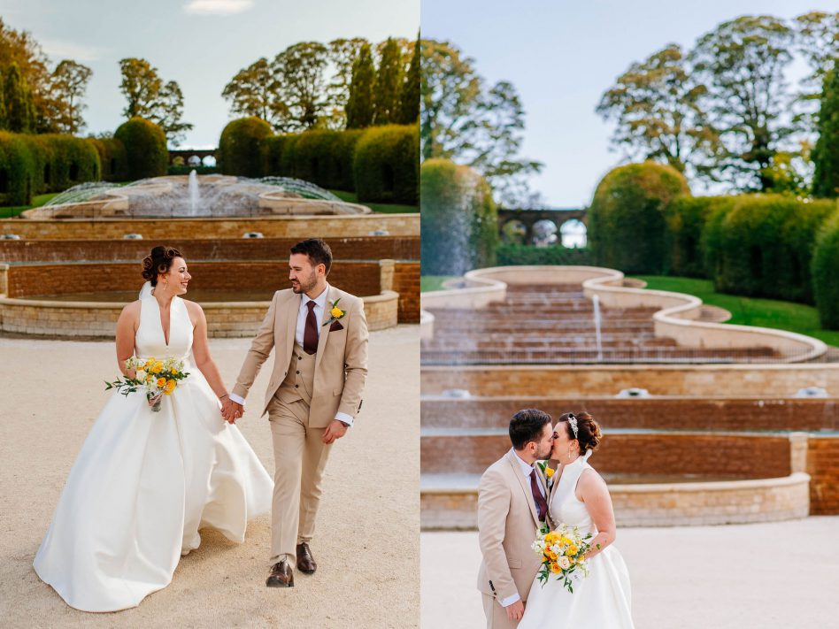 Bride and Groom at Alnwick garden wedding venue