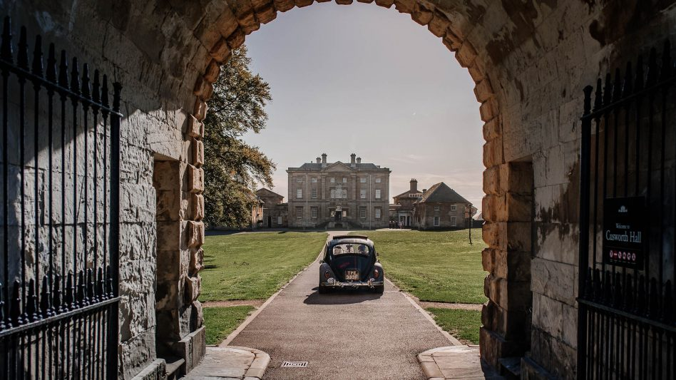 Bride arriving at Cusworth Hall wedding venue