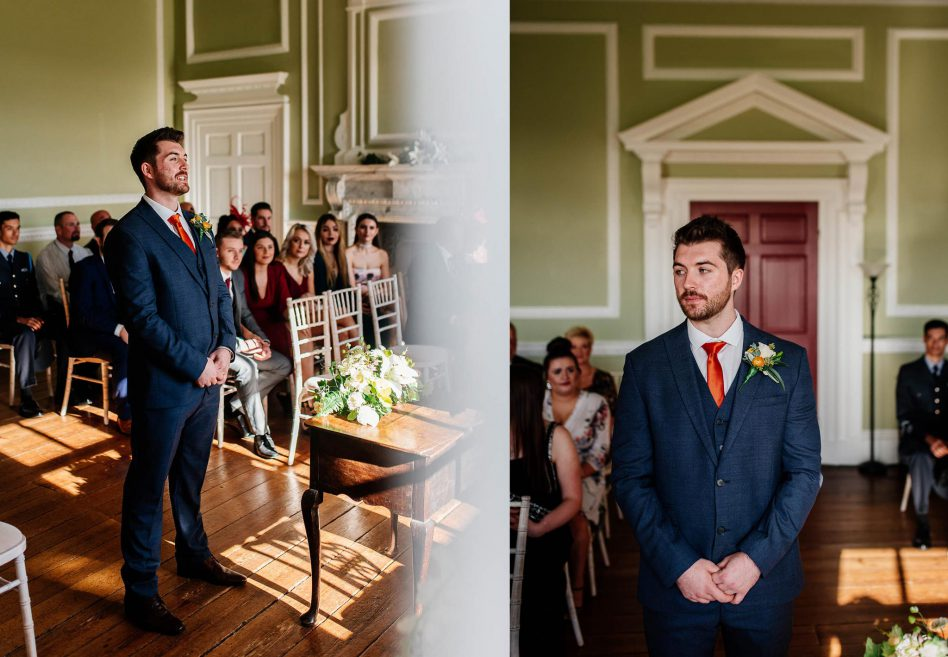 Groom waiting down the aisle at Cusworth Hall
