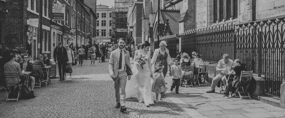 Newlyweds walking in Sheffield