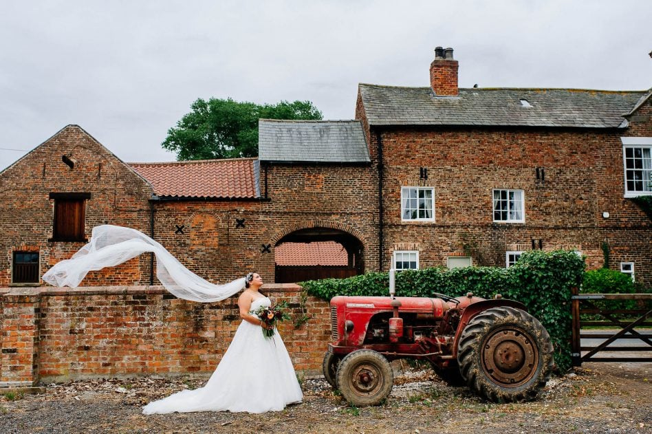 Bride with tractor