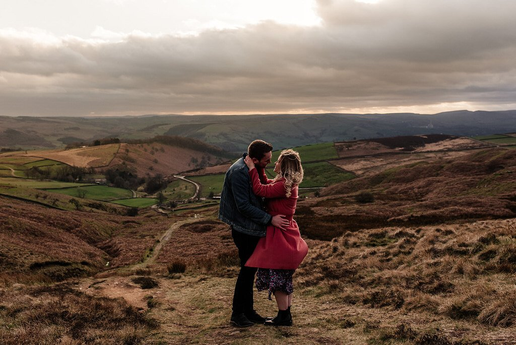 Engaged cuple in the Peak District outside Sheffield