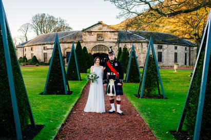 Bride and Groom on their wedding day at Prestonfield House in Eddinburgh