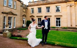 Bride and groom on their wedding day at Wortley Hall in South Yorkshire