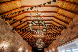 Tartan bunting at the barn at harburn wedding venue