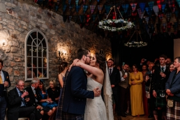 First dance at a wedding at the barn at harburn