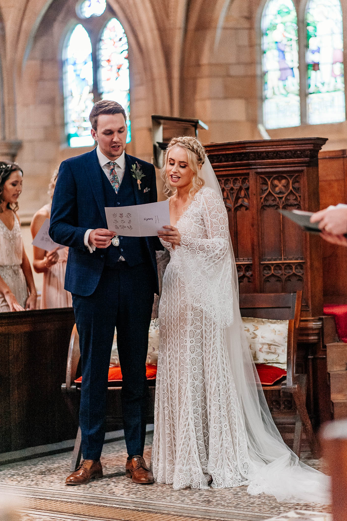 Bride and groom singing at Wentworth Church