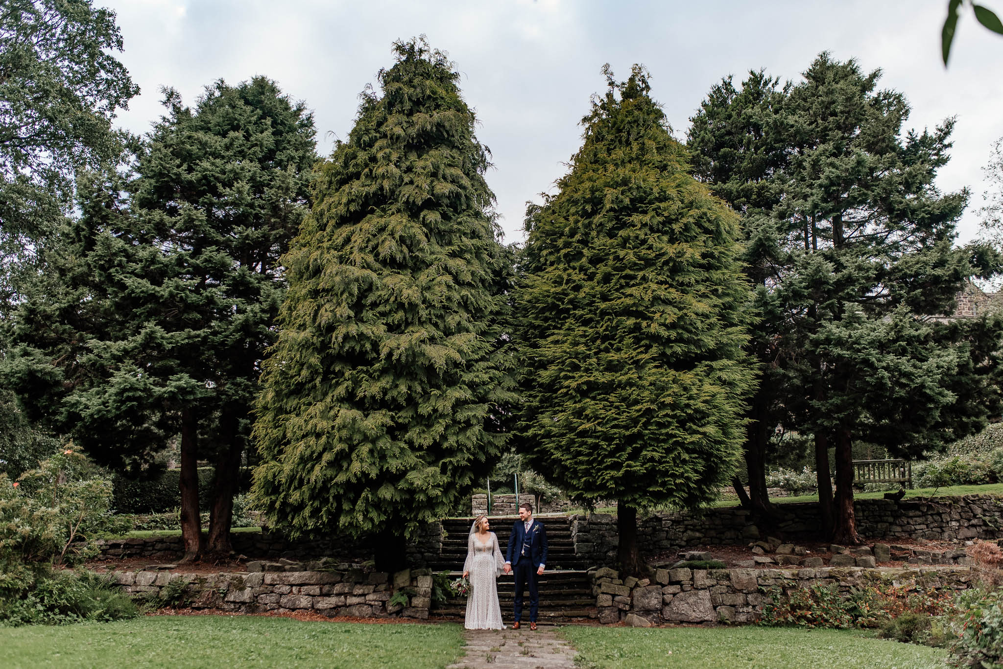 Bride and groom portraits on a wedding day at Whirlowbrook Hall in Sheffield