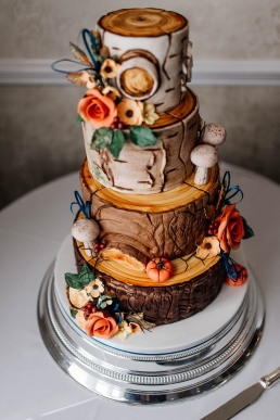 Autumn wedding cake at Rogerthorpe manor wedding venue