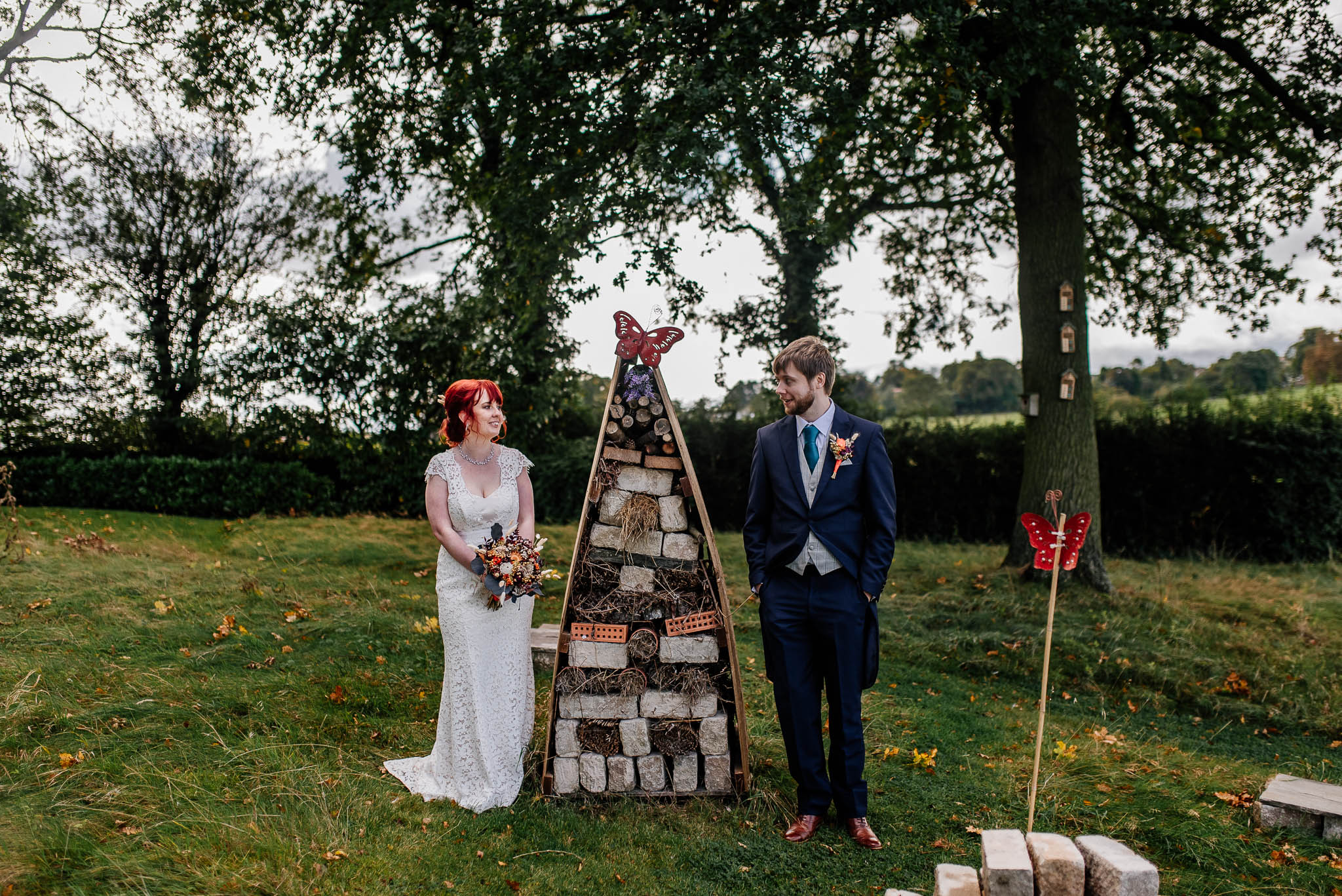 Rogerthorpe manor wedding - bride and groom