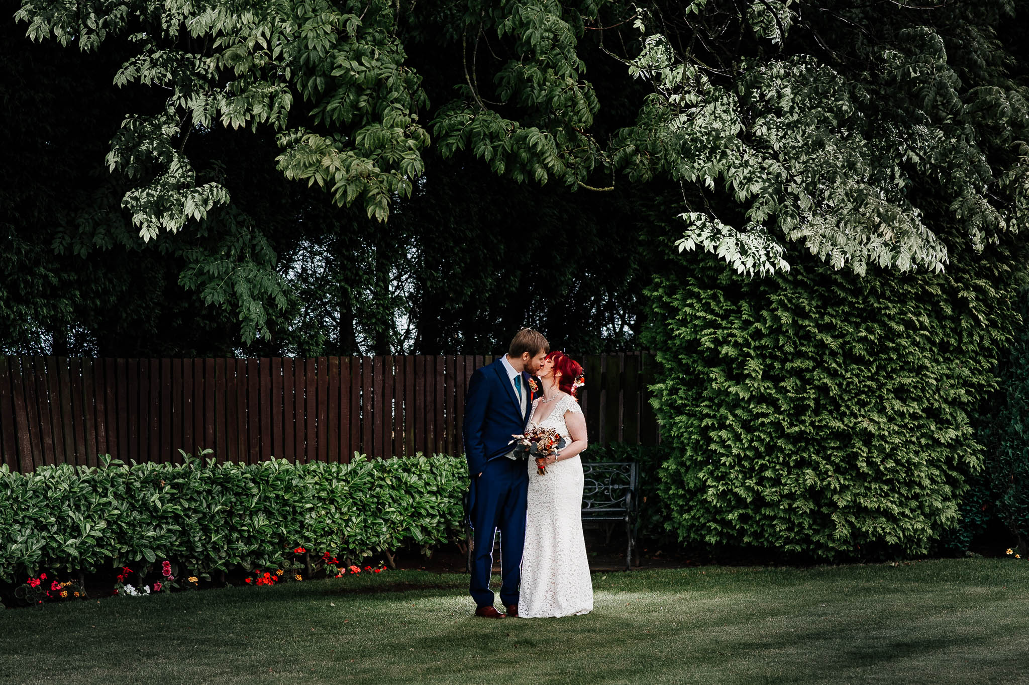 Married couple at Rogerthorpe manor wedding venue