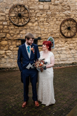 Bride and groom at Rogerthorpe manor wedding venue