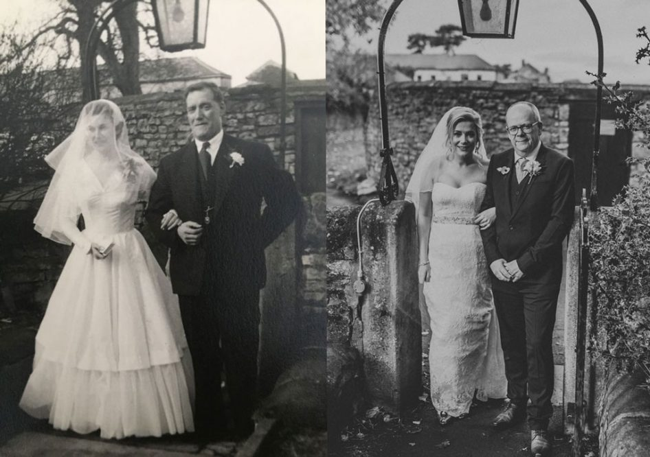 Same place different time wedding photo - Jen and her grandparents at Owston Hall in Doncaster