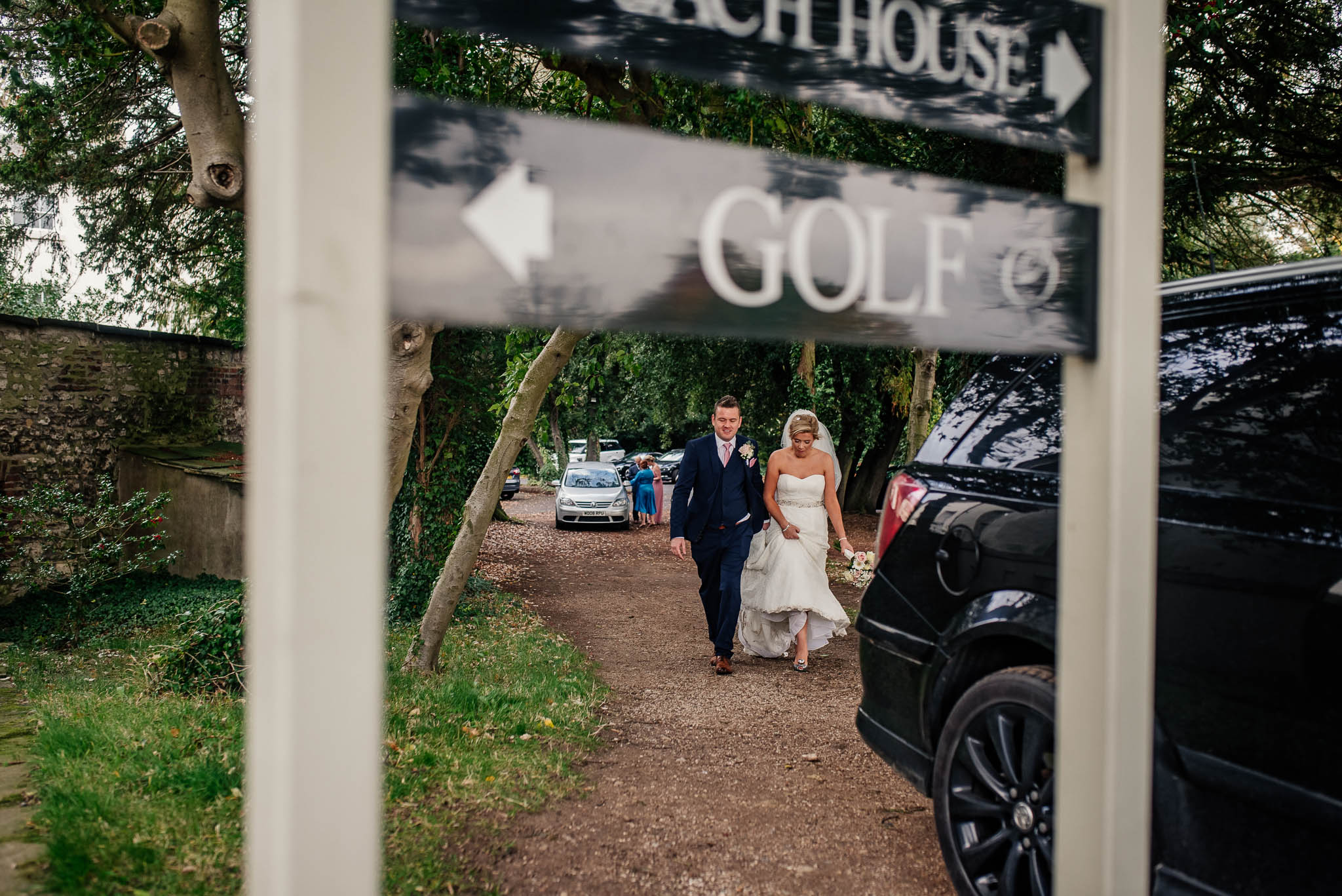 Bride and groom at Owston Hall golf course Wedding venue