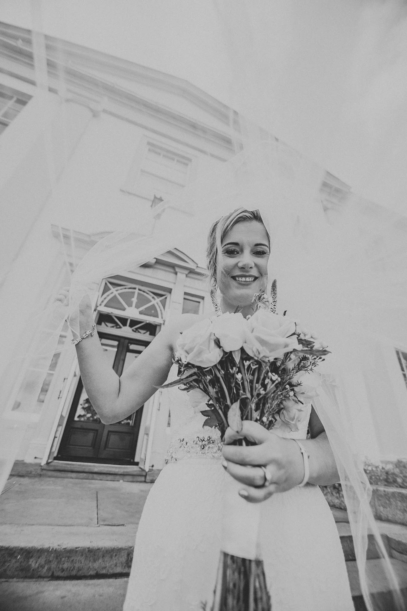 Bride outside Owston Hall