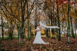 Autumn woodland wedding photos at Owston Hall