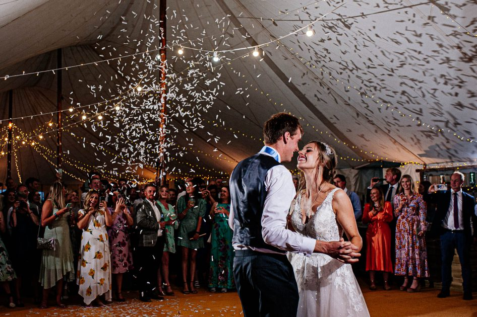 Confetti during first dance at a wedding in Barnsley